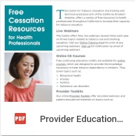 Free Cessation Resources for Providers